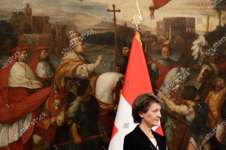 Swiss Confederation President Simonetta Sommaruga attends a joint press conference with Italian Premier Giuseppe Conte following their meeting at Chigi Palace, in Rome