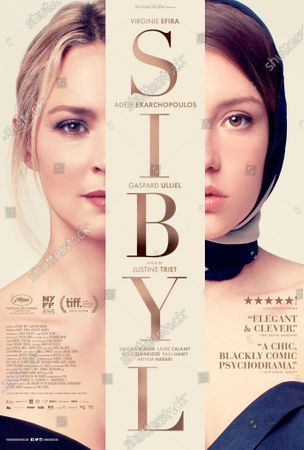 Stock Picture of Sibyl (2019) Poster Art. Virginie Efira as Sibyl (le psychotherapeute) and Adele Exarchopoulos as Margot Vasilis (le actrice)
