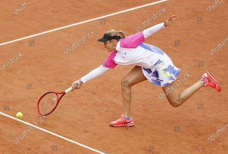Donna Vekic of Croatia plays a forehand in her first round match against Irina Bara of Romania at the French Open tennis tournament at Roland Garros in Paris, France, 29 September 2020.