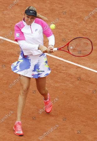 Donna Vekic of Croatia plays a backhand in her first round match against Irina Bara of Romania at the French Open tennis tournament at Roland Garros in Paris, France, 29 September 2020.
