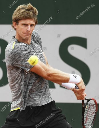 Kevin Anderson of South Africa eyes the ball during his first round match against Laslo Dere of Serbia the French Open tennis tournament at Roland Garros in Paris, France, 29 September 2020.