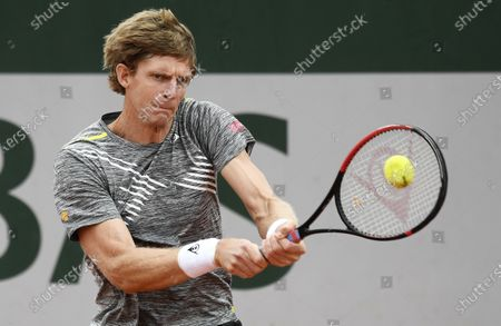 Kevin Anderson of South Africa hits a backhand during his first round match against Laslo Dere of Serbia the French Open tennis tournament at Roland Garros in Paris, France, 29 September 2020.