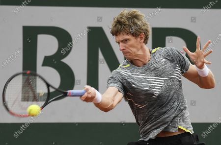 Kevin Anderson of South Africa hits a forehand during his first round match against Laslo Dere of Serbia the French Open tennis tournament at Roland Garros in Paris, France, 29 September 2020.