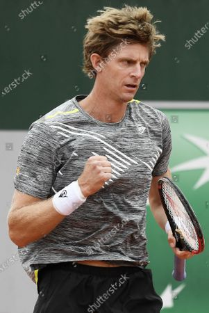 Kevin Anderson of South Africa celebrates a point during his first round match against Laslo Dere of Serbia the French Open tennis tournament at Roland Garros in Paris, France, 29 September 2020.