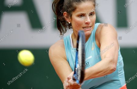 Julia Goerges of Germany hits a backhand during her first round match against Alison Riske of the US at the French Open tennis tournament at Roland Garros in Paris, France, 29 September 2020.