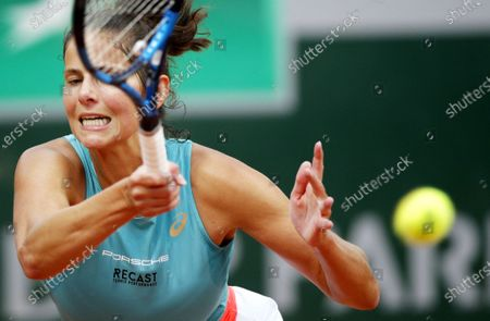 Julia Goerges of Germany hits a forehand during her first round match against Alison Riske of the US at the French Open tennis tournament at Roland Garros in Paris, France, 29 September 2020.