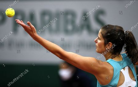 Julia Goerges of Germany serves during her first round match against Alison Riske of the US at the French Open tennis tournament at Roland Garros in Paris, France, 29 September 2020.