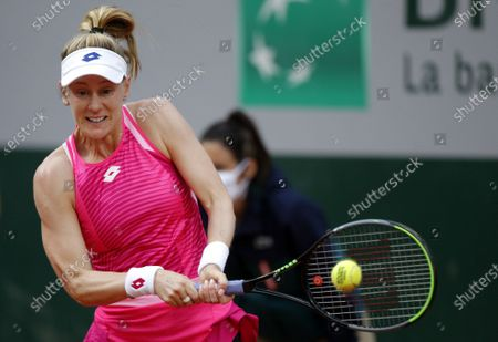 Stock Photo of Alison Riske of the US hits a backhand during her first round match against Julia Goerges of Germany at the French Open tennis tournament at Roland Garros in Paris, France, 29 September 2020.
