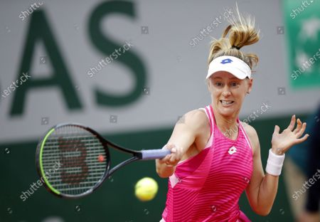 Alison Riske of the US hits a forehand during her first round match against Julia Goerges of Germany at the French Open tennis tournament at Roland Garros in Paris, France, 29 September 2020.