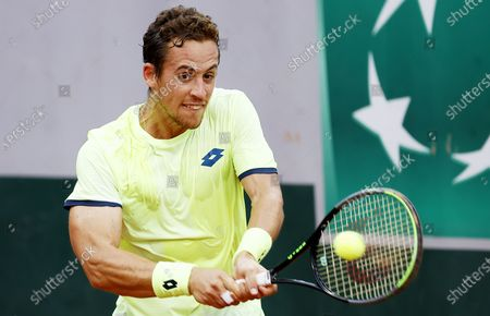 Stock Picture of Roberto Carballes Baena of Spain hits a backhand during his first round match against Steve Johnson of the US at the French Open tennis tournament at Roland Garros in Paris, France, 29 September 2020.