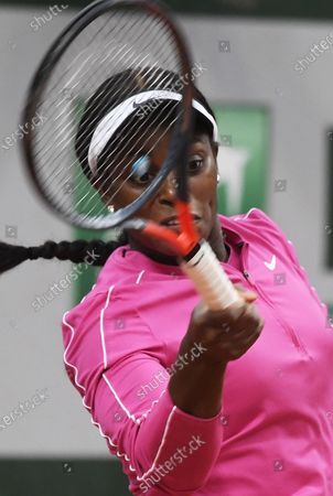 Sloane Stephens of the US hits a forehand during her first round match against Vitalia Diatchenko of Russia at the French Open tennis tournament at Roland Garros in Paris, France, 29 September 2020
