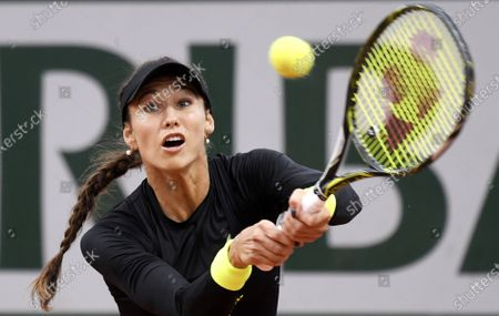 Vitalia Diatchenko of Russia hits a backhand during her first round match against Sloane Stephens of the US at the French Open tennis tournament at Roland Garros in Paris, France, 29 September 2020.