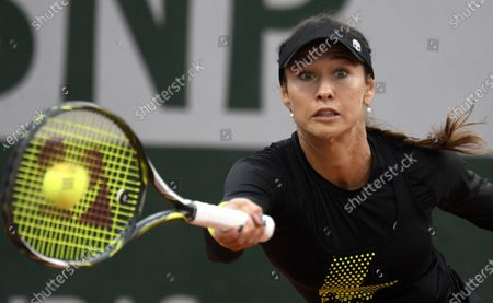 Vitalia Diatchenko of Russia hits a forehand during her first round match against Sloane Stephens of the US at the French Open tennis tournament at Roland Garros in Paris, France, 29 September 2020.
