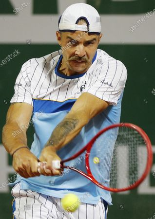 Andrej Martin of Slovakia hits a backhand during his first round match against Joao Sousa of Portugal at the French Open tennis tournament at Roland Garros in Paris, France, 29 September 2020.