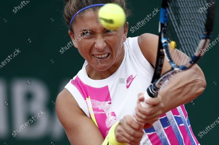 Sara Errani of Italy in action against Kiki Bertens of the Netherlands during their women's second round match during the French Open tennis tournament at Roland Garros in Paris, France, 30 September 2020.