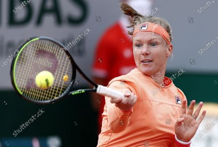 Kiki Bertens of the Netherlands in action against Sara Errani of Italy during their women's second round match during the French Open tennis tournament at Roland Garros in Paris, France, 30 September 2020.