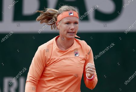 Kiki Bertens of the Netherlands reacts as she plays against Sara Errani of Italy during their women's second round match during the French Open tennis tournament at Roland Garros in Paris, France, 30 September 2020.