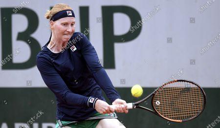 Alison Van Uytvanck of Belgium hits a backhand during her first round match against Rebecca Peterson of Sweden at the French Open tennis tournament at Roland Garros in Paris, France, 29 September 2020.