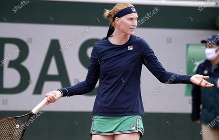 Alison Van Uytvanck of Belgium gestures during her first round match against Rebecca Peterson of Sweden at the French Open tennis tournament at Roland Garros in Paris, France, 29 September 2020.