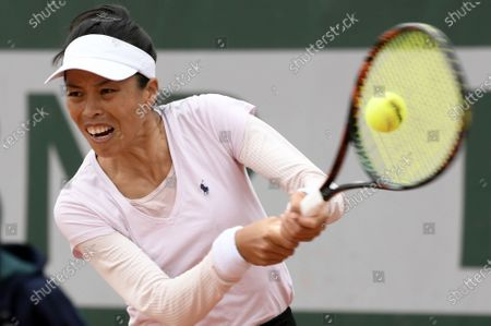 Stock Picture of Su-Wei Hsieh of Taiwan in action against Iga Swiatek of Poland during their women's second round match during the French Open tennis tournament at Roland Garros in Paris, France, 30 September 2020.