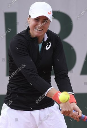 Rebecca Peterson of Sweden hits a backhand during her first round match against Alison Van Uytvanck of Belgium at the French Open tennis tournament at Roland Garros in Paris, France, 29 September 2020.