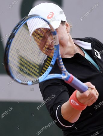 Rebecca Peterson of Sweden hits a forehand during her first round match against Alison Van Uytvanck of Belgium at the French Open tennis tournament at Roland Garros in Paris, France, 29 September 2020.