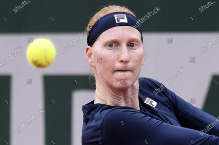Alison Van Uytvanck of Belgium eyes the ball during her first round match against Rebecca Peterson of Sweden at the French Open tennis tournament at Roland Garros in Paris, France, 29 September 2020.