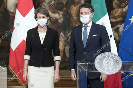 Italian Prime Minister Giuseppe Conte during a press conference with the President of the Swiss Confederation Simonetta Sommaruga after their meeting, Chigi Palace in Rome, Italy, 29 September 2020.