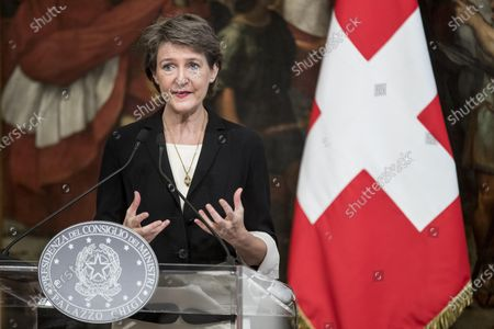 Swiss Confederation Simonetta Sommaruga during a press conference after her meeting with Italian Prime Minister Giuseppe Conte, Chigi Palace in Rome, Italy, 29 September 2020.