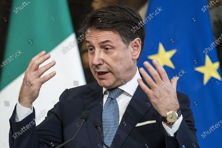 Italian Prime Minister Giuseppe Conte during a press conference after receiving the President of the Swiss Confederation Simonetta Sommaruga, Chigi Palace in Rome, Italy, 29 September 2020.