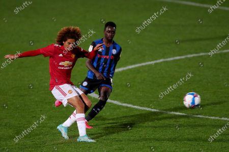 Hannibal Mejbri of Manchester United U21 and Fabio Tavares of Rochdale AFC
