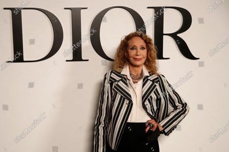 Actress Marisa Berenson poses before Dior's Spring-Summer 2021 fashion collection before the show during the Paris fashion week