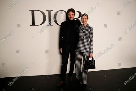 Natalia Vodianova and Antoine Arnault pose before Dior's Spring-Summer 2021 fashion collection before the show during the Paris fashion week