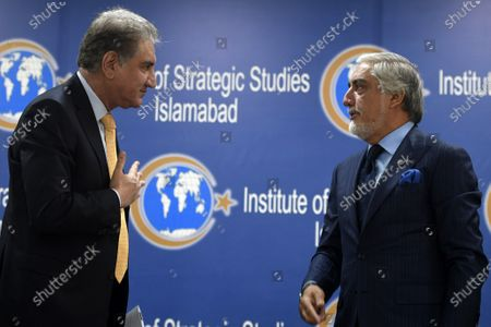 Pakistani Foreign Minister Shah Mehmood Qureshi (L) talks with the Chairman of Afghanistan's High Council for National Reconciliation, Dr. Abdullah Abdullah (R), during their meeting at the Institute of Strategic Studies, in Islamabad, Pakistan, 29 September 2020. The Chairman of Afghanistan's High Council for National Reconciliation Dr Abdullah Abdullah arrived in Islamabad on 28 September on a three-day visit to discuss issues of mutual interest and regional security with Pakistani leadership.