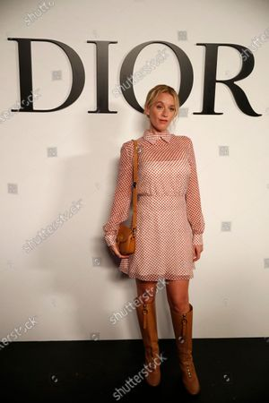 French actress Ludivine Sagnier poses before Dior's Spring-Summer 2021 fashion collection before the show during the Paris fashion week