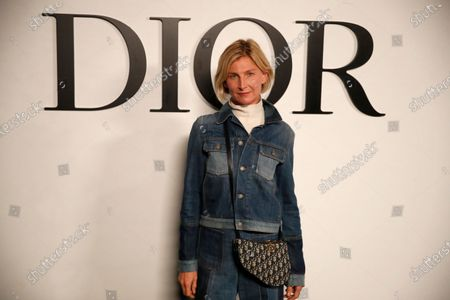 Elizabeth von Guttman poses before Dior's Spring-Summer 2021 fashion collection before the show during the Paris fashion week