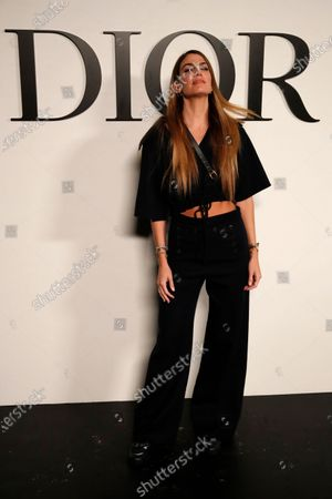 Italian actress Bianca Brandolini poses before Dior's Spring-Summer 2021 fashion collection before the show during the Paris fashion week