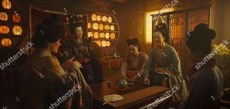 Stock Photo of Jo Lo as Fong Lin, Pei-Pei Cheng as Matchmaker, Xana Tang as Xiu, Rosalind Chao as Li and Yifei Liu as Mulan