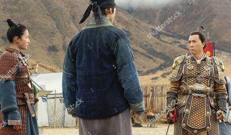 Yifei Liu as Mulan, Yoson An as Honghui and Donnie Yen as Commander Tung