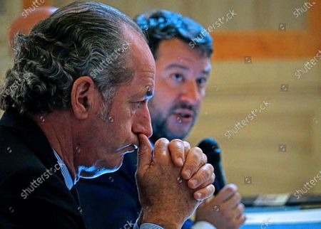 Stock Image of The Italian League party leader Matteo Salvini (R) is flanked by Veneto Governor Luca Zaia (L) during his visit to Venice, northern Italy, 29 September 2020.