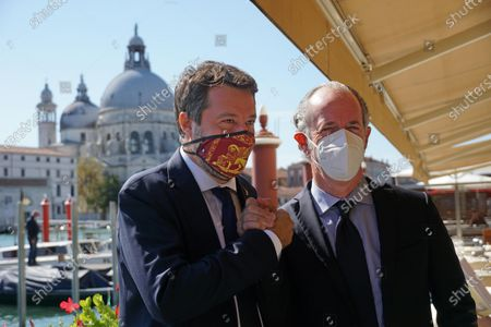 The Italian League party leader Matteo Salvini (L) is flanked by Veneto Governor Luca Zaia (R) during his visit to Venice, northern Italy, 29 September 2020.
