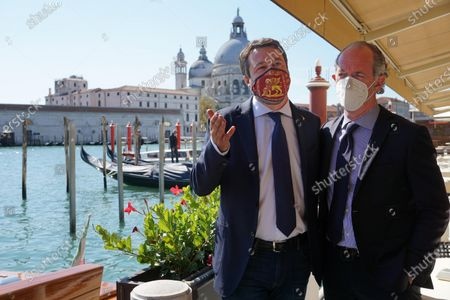 Stock Picture of The Italian League party leader Matteo Salvini (L) is flanked by Veneto Governor Luca Zaia (R) during his visit to Venice, northern Italy, 29 September 2020.