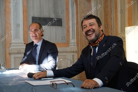 The Italian League party leader Matteo Salvini (R) is flanked by Veneto Governor Luca Zaia (L) during his visit to Venice, northern Italy, 29 September 2020.