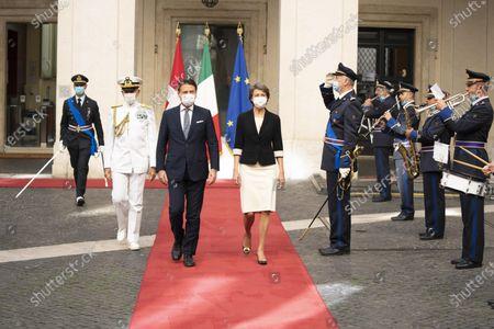 Italian Prime Minister Giuseppe Conte meets the President of the Swiss Confederation Simonetta Sommaruga.