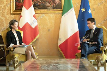 Editorial photo of Giuseppe Conte receives Simonetta Sommaruga, Chigi Palace, Rome, Italy - 29 Sep 2020
