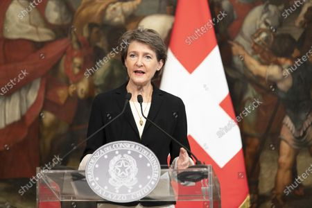 Stock Picture of President of the Swiss Confederation Simonetta Sommaruga, attends a press conference.