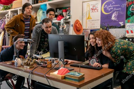 Stock Image of Gerald Isaac Waters as Chad, Anthony Jacques as Ricky, Fred Armisen as Mr. Franks, Rhenzy Feliz as Ty, Auli'i Cravalho as Amber Appleton and Taylor Richardson as Jordan