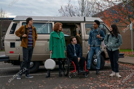Stock Photo of Anthony Jacques as Ricky, Taylor Richardson as Jordan, Gerald Isaac Waters as Chad, Rhenzy Feliz as Ty and Auli'i Cravalho as Amber Appleton