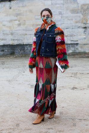 Sofia Sanchez de Betak leaves the Dior Spring Summer 2021 fashion show in the Jardin des Tuileries