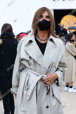 Carine Roitfeld at the Dior Spring Summer 2021 fashion show in the Jardin des Tuileries